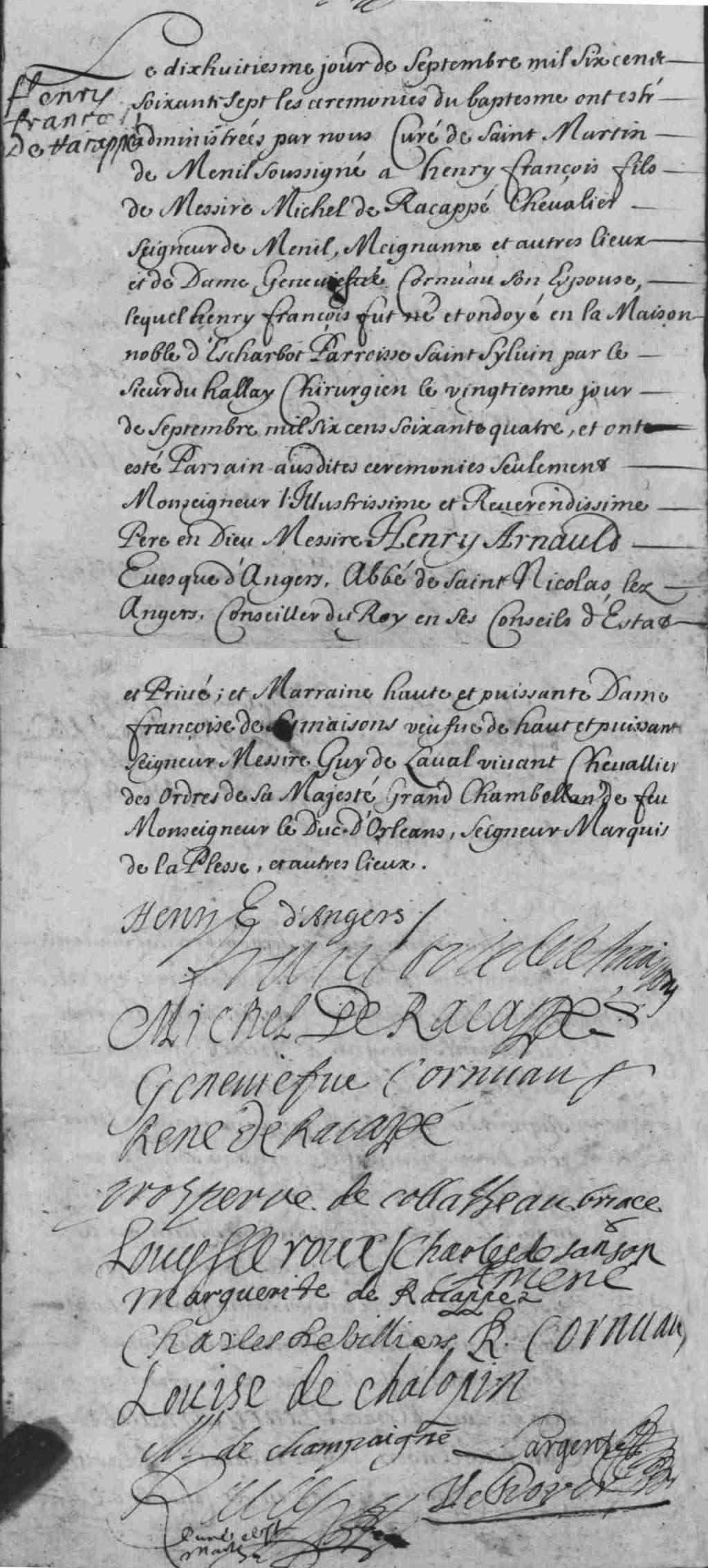 Noblesse de France, Baptême de Henri-François de Racappé
