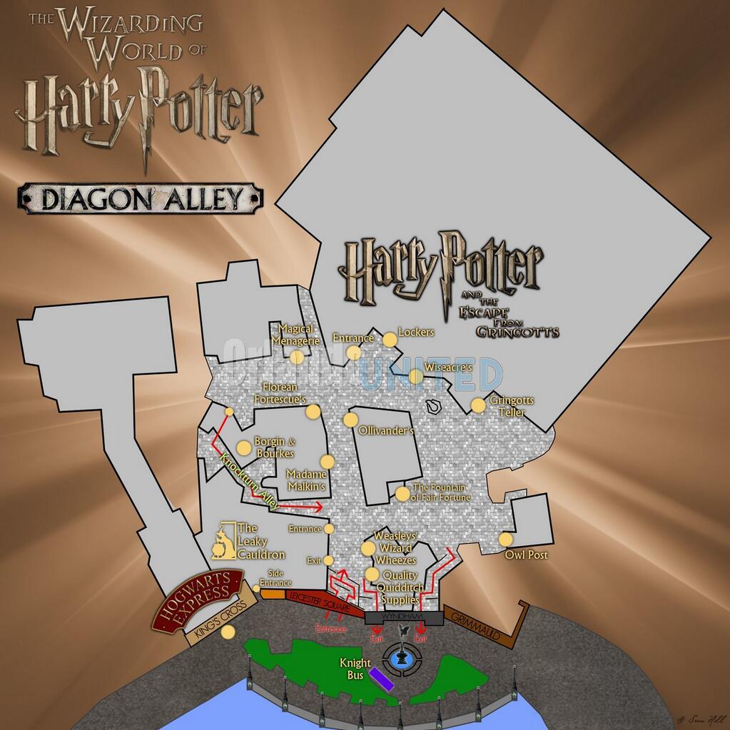 Universal Studios Orlando Harry Potter Diagon Alley Map | CFA ...