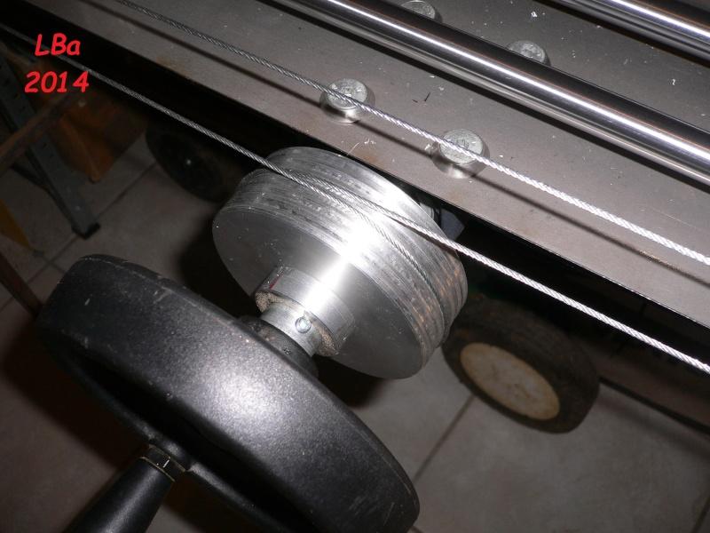 détail passage cable sur poulie