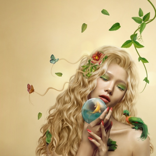 belle image femme papillons