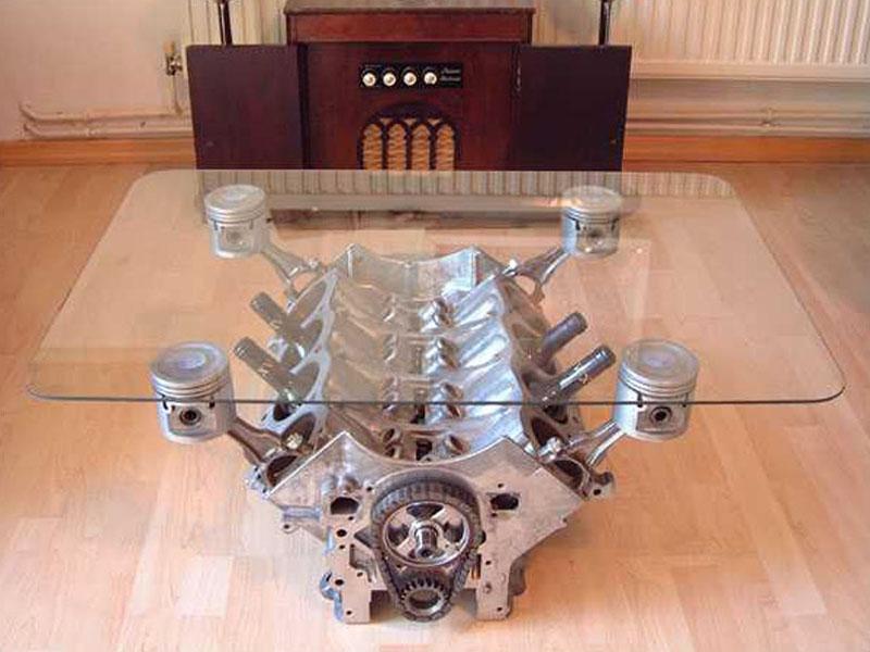 Customiser Une Table Basse En Chene ~   Table Basse Avec Un Moteur  A La Base Je Voulais Un V6 Prv Mais